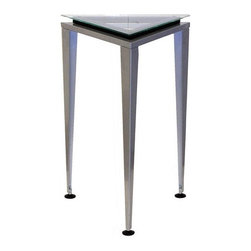 "Adesso - Reflections End Table - This lovely 20'' small pedestal table with triangular shaped and a black frame. Three tiny suction cups hold the glass surface in place. This unique table adds accent and style to any decor. Features: -Tempered glass.-Collection: Reflections.-Base Finish: Satin steel.-Distressed: No.-Powder Coated Finish: No.-Gloss Finish: No.-Base Material: Metal.-Top Material: Glass.-Solid Wood Construction: No.-Hardware Material: Stainless steel.-Nesting Tables: No.-Non-Toxic: No.-UV Resistant: No.-Scratch Resistant: No.-Stain Resistant: No.-Lift Top: No.-Storage Under Table Top: No.-Drop Leaf Top: No.-Magazine Rack: No.-Built In Clock: No.-Drawers Included: No.-Hardware Finish: Brushed steel.-Exterior Shelves: No.-Cabinets Included: No.-Glass Component: Yes -Tempered Glass: Yes.-Beveled Glass: No.-Frosted Glass: No..-Casters: No.-Lighted: No.-Stackable: No.-Reclaimed Wood: No.-Adjustable Height: No.-Outdoor Use: No.-Swatch Available: No.-Commercial Use: Yes.-Recycled Content: No.-Product Care: Wipe clean with a dry cloth.-Built In Outlets: No.-Powered: No.Specifications: -General Conformity Certificate: No.-Green Guard Certified: No.-UL Listed: No.Dimensions: -Overall Height - Top to Bottom: 20"".-Overall Width - Side to Side: 16"".-Overall Depth - Front to Back: 16"".-Drawer: No.-Cabinets: No.-Overall Product Weight: 5 lbs.-Legs: No.Assembly: -Assembly Required: Yes."