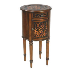 Sterling Industries - Sterling Industries Leopard Drum Table X-1600-15 - The round shape of this Sterling Industries drum table gives it a more classic feel. The drawer face, door and top of the table all feature a dramatic dark toned leopard print, which compliments the warm coloring of the wood finish. Traditional turned work to the legs and silver-finished knobs complete the look.