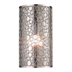 Z-Lite - Z-Lite Saatchi Wall Sconce X-S1-581 - With a definite retro influence contrasting with a contemporary execution, this 1 Light wall sconce truly makes a remarkable statement. This mirrored inner shade is surrounded by a very modernly textured outer shade, and the fixture is finished in brush nickel.
