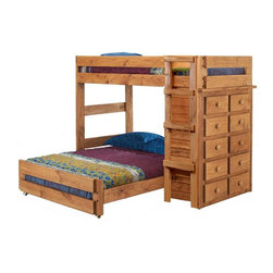 Chelsea Home - 80 in. Twin Over Full Loft Bed - NOTE: ivgStores DOES NOT offer assembly on loft beds or bunk beds.. Includes slat packs and ten drawers chest. Mattresses not included. Rustic style. Wooden ladder. Metal brackets are used to connect the rails to the headboard and footboard. Rails include a 1.25 in. cleat which is glued and screwed to the rail for extra strength to support the mattress foundation. Drawer is mounted on a rolling metal glide for easy opening and closing. Exceed all safety standards of the consumer product safety commission. Constructed for strength and durability. Can hold up to 400 lbs. of distributed weight. Warranty: One year. Made from solid pine wood. Ginger stain finish. Made in USA. Assembly required. Distance from floor and bottom of top bunk: 49 in.. Drawer: 12 in. W x 19 in. D x 4.5 in. H. Overall: 80 in. L x 80 in. W x 62 in. H (320 lbs.). Bunk Bed Warning. Please read before purchase.Warning: Falling hazard, bunk beds should be used by children 6 years of age and older!