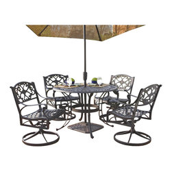"""Home Styles - Home Styles Biscayne 5PC 42"""" Round Outdoor Dining Set in Black Finish - Home Styles - Patio Dining Sets - 5554305 - The five piece outdoor dining set is a dominating set that will draw every eye to the intricate detailed metal work._� Constructed of solid cast aluminum it is more substantial than hollow aluminum or tubular outdoor furniture and is durable lasting year after year._� Need another incentive?_� The set is maintenance free!_� The table is designed to accommodate an outdoor umbrella and umbrella stand._�"""