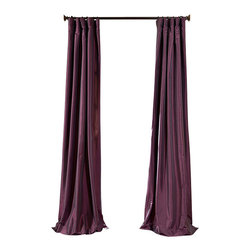 """Exclusive Fabrics & Furnishings, LLC - Dahlia Faux Silk Taffeta Curtain - 56% Nylon & 44% Polyester. 3"""" Pole Pocket with Hook Belt. Lined. Interlined. Imported. Weighted Hem. Dry Clean Only. SOLD PER PANEL."""