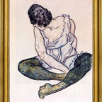 """Egon Schiele-16""""x24"""" Framed Canvas - 16"""" x 24"""" Egon Schiele Seated Woman with Green Stockings framed premium canvas print reproduced to meet museum quality standards. Our museum quality canvas prints are produced using high-precision print technology for a more accurate reproduction printed on high quality canvas with fade-resistant, archival inks. Our progressive business model allows us to offer works of art to you at the best wholesale pricing, significantly less than art gallery prices, affordable to all. This artwork is hand stretched onto wooden stretcher bars, then mounted into our 3"""" wide gold finish frame with black panel by one of our expert framers. Our framed canvas print comes with hardware, ready to hang on your wall.  We present a comprehensive collection of exceptional canvas art reproductions by Egon Schiele."""