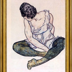 "Egon Schiele-16""x24"" Framed Canvas - 16"" x 24"" Egon Schiele Seated Woman with Green Stockings framed premium canvas print reproduced to meet museum quality standards. Our museum quality canvas prints are produced using high-precision print technology for a more accurate reproduction printed on high quality canvas with fade-resistant, archival inks. Our progressive business model allows us to offer works of art to you at the best wholesale pricing, significantly less than art gallery prices, affordable to all. This artwork is hand stretched onto wooden stretcher bars, then mounted into our 3"" wide gold finish frame with black panel by one of our expert framers. Our framed canvas print comes with hardware, ready to hang on your wall.  We present a comprehensive collection of exceptional canvas art reproductions by Egon Schiele."