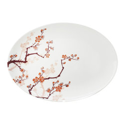 Ink Dish - Ink Dish Paul Timman Cherry Ink Serving Platter - Sweet Spring BloomsDraw the line high when it comes to your dinnerware. With Ink Dish's Cherry Ink Serving Platter, you can set the table in pure style. Each platter is made from A-quality porcelain and features a stunning cherry blossom design created by world-renowned tattoo artist Paul Timman. The motif follows the sumi style of Japanese tattooing, where soft edges replace black outlines, for a delicate, feminine feel. Embrace the Asian-inspired look, or use the floral design to serve up a fresh tablescape.Made in Bangladesh