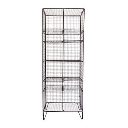 Pre-owned Industrial Wire Bookcase - We love the look that wire pieces create. Hard and masculine, but at the same time, light and textural. This perfect modern industrial shelving unit would be great for extra storage in any space. We can see it holding towels and bath accessories or styled with books and vintage cameras.