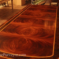 Regency Style Chinoiserie Painted Formal Mahogany Dining Table with Brass Feet - AntiquePurveyor.com