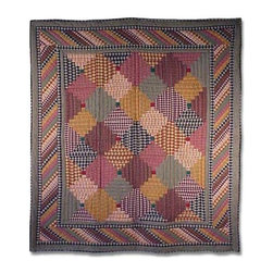 Patch Quilts - Harvest Log Cabin Queen Quilt - -Constructed of 100% Cotton  -Machine washable; gentle dry  -Made in India Patch Quilts - QQHLC