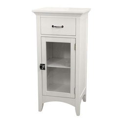 Elegant Home Fashions - Madison Avenue Floor Cabinet with 1 Door and 1 Drawer - The Madison Avenue Floor Cabinet with One Door and One Drawer from Elegant Home Fashions has an elegant crown molded top with one door and one drawer that offers storage with style for your bathroom.  It is also very functional with one adjustable interior shelf.  Arched decorative skirt on bottom front and sides offers architectural elegance.  It features chrome finished knobs for easy opening. The metal glider drawer allows for easy open and close operation. This cabinet comes with assembly hardware.