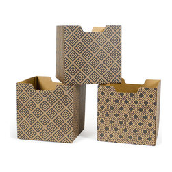 Quark Enterprises - Diamond Pattern Decorative Storage Boxes, 3-Pack - Our Modern Patterns Kids Storage Bins are the perfect addition to your twenty-first century child's room. What better way to instill a sense of modernity then to surround them with the latest and greatest in contemporary design.