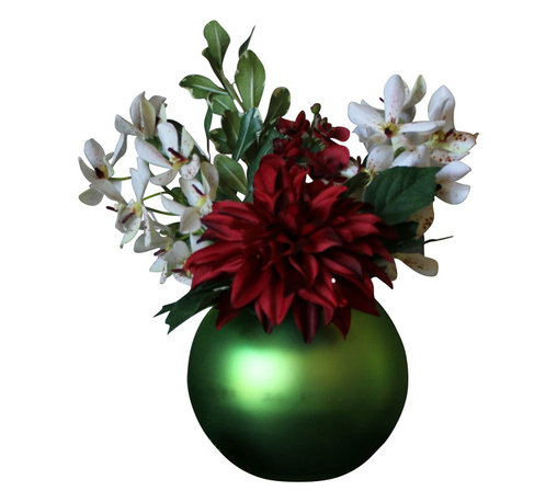 The Firefly Garden - Christmas Ornament - Illuminated Floral Design, Green - Christmas Ornament is a lovely holiday arrangement, featuring a bold white Dahlia with white and red Vanda Orchids. Choose from red or green Christmas ornament vases to illuminate the Christmas season. Uses 3 replaceable AA batteries.