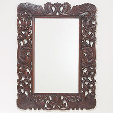 Stained Wood Peacock Mirror | Wall Art and Decor| Home Decor | World Market