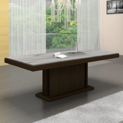 Casabianca - Glacier Dining Table Multicolor - CB/1208-TABLE - Shop for Dining Tables from Hayneedle.com! The Glacier Dining Table adds a chic contemporary look to your dining room. Constructed of durable wood and natural stone this dining table is sure to impress. The pedestal style wood base features a warm brown finish. The stone rectangular table top design adds a sleek splash of style and can easily seat up to six people at one time comfortably. A beautiful dining accessory for your sophisticated decor.