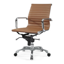 Meelano - M344 Eames Style Office Chair, Brown - Make your career dreams come true. Always Be Closing. Inspired by Mid-Century ideals, you'll go far and wide with your leadership skills sitting here. Attack your competition and become the master of your office.