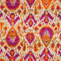 Jaipur Rugs - Hand-Knotted Tribal Pattern Polyester Red/Blue Area Rug ( 5X8 ) - A handknotted collection of brightly colored sari , the rugs are a gorgeous way to add vibrancy and interest to any room.