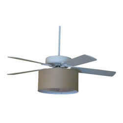 """ST Lighting, LLC - Linen Drum Shade Kit for Ceiling Fans, Cognac, 17""""x17""""x8"""" - Our Linen Drum Shade Kits for Ceiling fans easily convert your ordinary ceiling fan into a custom look.  The high quality linen shade is available in five colors and two styles with a white acrylic diffuser,  3 light Bakelite socket (bulbs not included) with pull chain switch and final. Our kits work with your remote controlled fans also."""
