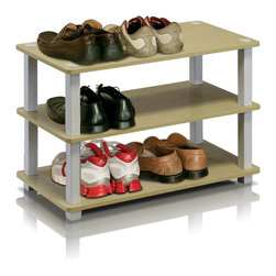 Furinno - Furinno 13080 Turn-S-Tube 3-Tier Shoe Rack, Steam Beech/White - This series is designed to meet the demand of fits in space, fits on budget and yet durable and efficient furniture. It is proven to be the most popular RTA furniture due to its functionality, price, and the no hassle assembly. The DIY project in assemblying these products can be fun for kids and parents. There are no screws involved, thus it is totally safe to be a family project. Just turn the tube to connect the panels to form a storage shelf. The materials comply with eco-friendly E1 grade particle board for furniture processed from parts of rubber trees. There is no foul smell of chemicals, durable and it is the most stable particleboard used to make RTA furniture.