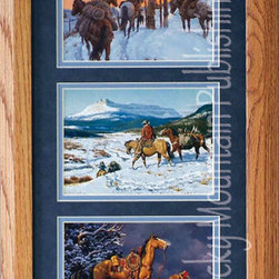 Rocky Mountain Publishing - The Home Gate, Clark Kelley Price Cowboy Art Framed Set - This  great  cowboy  art  piece  will  be  a  great  addition  to  any  decor.  Offset  with  a  blue  mat,  the  colors  of  the  snow  and  winter  scenes  stand  out  inside  this  beautiful  frame.  The  Home  Gate  Triple  combines  a  variety  of  winter  images  to  create  a  striking  presentation  of  western  life  in  the  winter.  Depicting  cowboys  as  they  travel  across  the  frozen  land  to  the  weariness  that  settles  in  as  they  finally  reach  the  home  gate.  When  looking  for  artwork  that  combines  the  natural  beauty  of  the  elements  with  the  emotion  of  homecoming,  consider  this  piece.                  Dimensions:  Glass  and  Matting  measure  10x20  inches;  Exterior  Frame  dimensions  approximately  16x26  inches              Handsomely  matted  and  framed              Hardware  for  hanging  is  pre-installed              Treated  with  a  protective  coat  of  acid-free  sealant              Artist:  Clark  Kelley  Price;  Allow  2  weeks  for  shipping