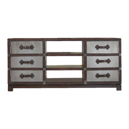Hooker Furniture - Bondurant Entertainment Console - Leather bound has a new meaning in this entertainment console with its faux, silver leaf finish. It's classy, sassy and oh-so-buff with nail head trim. It would make a definite statement in any entertainment room.