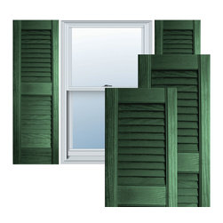 """Alpha Systems LLC - 12"""" x 43"""" Builders Choice Vinyl Open Louver Shutters,w/Screws, Forest Green - Our Builders Choice Vinyl Shutters are the perfect choice for inexpensively updating your home. With a solid wood look, wide color selection, and incomparable performance, exterior vinyl shutters are an ideal way to add beauty and charm to any home exterior. Everything is included with your vinyl shutter shipment. Color matching shutter screws and a beautiful new set of vinyl shutters."""