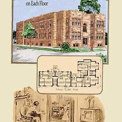 """Buyenlarge.com, Inc. - Eight Four-Room Apartments on Each Floor- Gallery Wrapped Canvas Art 28"""" x 42"""" - American commercial rendering of various business buildings with floor plans and with some drawings of the milieu"""