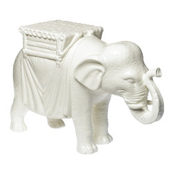 Two's Company Elephant Side Table - I am totally in love with this adorable little guy. Stools come in all shapes, and elephants make some of the best.