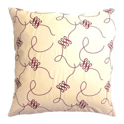 5 Surry Lane - Duralee Red Ribbon Pillow - Fun and fabulous, this red ribbon patterned pillow will add an approachable design element to your space.  Reverses to solid.  Down feather insert included.  Hidden zipper closure.  Made in the USA.