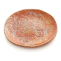 """Toulouse Orange 9.5"""" Plate - A distinctive way to personalize your place settings, these beautiful French plates are crafted of stoneware with an intricate botanical pattern in raised relief, freeform rims and artisanal glazes in a mix of rich colors. Choose one shade, mix them up or combine them with other traditional or modern pieces for your own unique dining statement."""