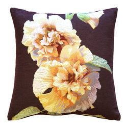 Pillow Decor Ltd. - Pillow Decor - Hollyhock Twin Blossoms Tapestry Throw Pillow - This richly colored French tapestry throw pillow features two hollyhock blossoms on the stem. The flower blossoms are pale yellow with deep red centers and grayish blue shadow tones, and are set against a deep purple background.