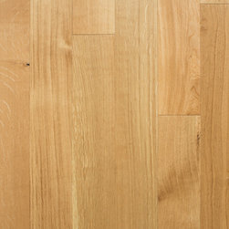 """Heirloom Collection Rift & Quartered White Oak Natural - 1/2"""" x 5"""" x random lengths (16""""-71"""") - Micro-beveled ends and edges - Smooth with character distressing, hand-cut edges - Anti-scratch finish with Aluminum Oxide - 25 year finish and lifetime structural warranty - Installation options: above or on grade; glue, nail, or floating"""