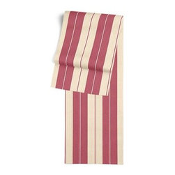 Dark Pink Racing Stripe Custom Table Runner - Get ready to dine in style with your new Simple Table Runner. With clean rolled edges and hundreds of fabrics to choose from, it's the perfect centerpiece to the well set table. We love it in this rose pink and tan woven racing stripe. A classic alternative to the traditional awning stripe that can work in any decor.