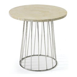 Pins Table - This beautiful wooden round table fits with all types of chairs and stools. Crafted with quality material, this table will go perfectly with any room decor! The material combined, Simple and sculptural, the Pins Table is a go-anywhere accent piece that combines an industrial-looking iron crossed base with the softer vibe of a natural bone-tiled top. Its base has given a smooth finish with nickel polish. They just need a wipe clean regularly to maintain the longevity.
