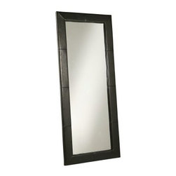 Large Leather Floor Mirror - Black - 31W x 70H in. - About AbbysonBased in California, Abbyson has been America's leading home lifestyle furnishings brand since 1989. Following a mission that aims to combine style, function, affordability, sustainability and diversity into all their products, Abbyson creates classic and transitional designs that let their customers regain the control in the environments that they call home. With operations in Italy, China, and Germany, Abbyson focuses on using the finest materials, craftsmen, and techniques, from their classic leather furniture sets to organic, hand-knotted Tibetan rugs. Abbyson recently partnered with the Sustainable Furnishings Council as part of their effort to find new ways to bring sustainable practices to home furnishings marketplace. Through their green initiatives and everyday design and construction practices, Abbyson keeps striving to meet their customer's lifestyle needs, and revitalize their day-to-day routines.