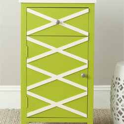 Safavieh - Safavieh Brandy Lime Green/ White Small Cabinet - Simple, yet charming, the Brandy small cabinet in lime green finished poplar with contrasting white top and x-details on front is perfectly suited to country or beachside living.