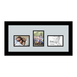 ArtToFrames - ArtToFrames Collage Photo Frame  with 3 - 3.5x5 Openings - This modern Satin Black, 1.25 inch wide collage frame, features a multiple opening display for 3 - 3.5x5 snapshots of your choice. This collage is part of a vast collage frame collection and boasts a vast line of premium quality frames at a price you can be happy about! Handmade and created to outfit your snapshots making sure you 3 - 3.5x5 art will fit perfectly. Bordered in a striking Satin Black, sleek frame and surrounded by a contemporary Baby Blue mat, the collage arrangement certainly showcases your very own photographs, and wonderful memories in an entirely special and memorable way. This collage frame comes protected in Regular Glass, handy with appropriate hardware and can be on display in the blink of an eye. These superior quality and genuine wood-based collage frames change in design and size; all in contemporary and modern design. Mats are available in a bevy of color tones, openings, and shapes. It's time to tell your story! Preserving your memories in an original and imaginative new way has never been easier.