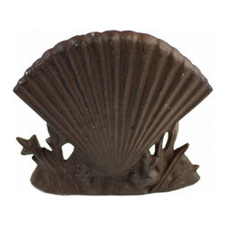 "Handcrafted Model Ships - Rustic Iron Shell Door Stop 8"" - Shell Decoration - This Rustic Cast Iron Shell Door Stop 8"" is the perfect addition for any nautical themed home. This is a solid, and durable decorative door stop. Prop this up against your door, and display this shell door stop to show those who approach your home affinity for the nautical sea-faring lifestyle."