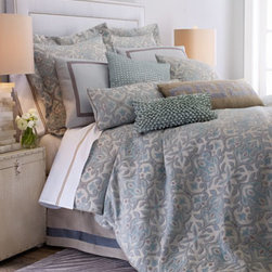 """Dransfield & Ross - Dransfield & Ross Queen Beauford Duvet Cover, 90"""" x 96"""" - Hues of bluestone, dark natural, and ice create the soothing palette of this bed linens ensemble from Dransfield & Ross®. Dry clean. """"Beauford"""" duvet covers and matching accessories are woven in the USA of rayon, polyester, and cotton. Ribbon-fra..."""