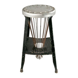 """Used Sommers Vintage Metal Stool With Drying Rack - This sure beats a clothesline!  Patented in 1929, this sculptural and totally unique vintage metal stool has a unique built-in drying rack with 16 metal drying arms that pull up and out and extend 24"""".  The arms tuck neatly away into base when not in use.  Rustic black and silver painted finish.  Patent # US1793521A.  13"""" diameter seat."""