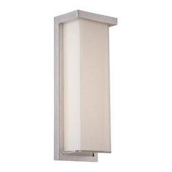 Modern Forms - Ledge Outdoor Wall Sconce - Ledge Outdoor Wall Sconce is available in a Brushed Aluminum or Black finish with White Mitered glass.  Available as a small, medium, or large. One 12/22/32 watt, 120 volt, 3000K LED lamp is included. Small: 6 inch width x 8 inch height x 4 inch depth. Medium: 5 inch width x 14 inch height x 4 inch depth. Large: 8 inch width x 20 inch height x 4 inch depth. ADA compliant, low profile design. Wet location listed.