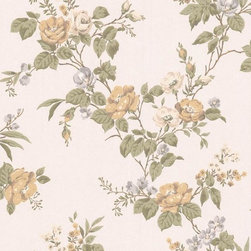 Graham and Brown - Cottage Garden Wallpaper - Cream Shimmer/Green - Cottage Garden wallpaper - beautiful climbing roses adorn this amazing floral wallpaper that will look fantastic on any wall.