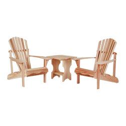 All Things Cedar - 3pc.Side Table Adirondack Set - This set includes 2 AA21U Adirondack Chairs plus 1 ST24U Adirondack Side Table Item is made to order.