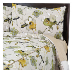 "Sands - Chooty - Liana Citron Standard Cut King Duvet and 2 Charcoal Corded Shams - The soft color palette and lovely floral pattern of this corded Duvet Set will bring a fresh look to your bedroom. Features delightful flowers in shades of grey, yellow and green that convey a touch of whimsy. This is a stylish statement for any dcor and it makes for an inviting bed you'll love climbing into. (King Size - 100""W x 94""L)"