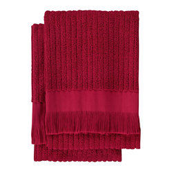 Nine Space - Ribbed Hand Towel (Set of 2), Cranberry - Lend a luxurious look to your bath with these everyday essentials that are anything but basic. Jacquard weaving patterns both sides of these hand towels with a subtle ribbed design for great texture. Made from pure Turkish cotton and finished with hand-tied fringe.