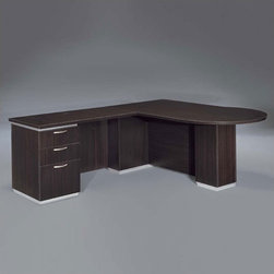 """DMi - Pimlico 72"""" W Left Peninsula L-Shape Executive Desk (Flat Pack) - Features: -Right peninsula L-shape desk.-Chasis is made of wood.-Nickel drawer pulls.-Satin aluminum bases and framed frosted glass modesty panels and doors.-Edges with a slight recessed angle and tops separated from chassis.-Box / box / file drawer in the return pedestal.-Pencil tray in the top box drawer.-Kneehole locking pedestal.-Grommet on return modesty panel.-Comes unassembled.-Pimilico collection.-Distressed: No.Dimensions: -Desk: 30'' H x 72'' W x 42'' D.-Return: 30'' H x 48'' W x 24'' D.-Overall dimensions: 30'' H x 72'' W x 90'' D.-Overall Product Weight: 414 lbs."""