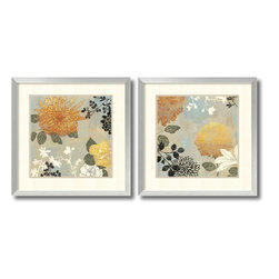 Amanti Art - Aimee Wilson 'Grace Flowers- set of 2' Framed Art Print 26 x 26-inch Each - Dress your walls in the understated sophistication of stylized floral art. Striking yet soft-spoken, this contemporary set of Grace Flowers by Aimee Wilson will lend an fresh, contemporary air to any room.