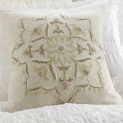 "Melinda Suzani Embroidered Pillow Cover, 18"" sq. - Textural embroidery gives this pillow cover's intricate floral medallion a layered look. 18"" square 12 x 24"" Made of a cotton/linen blend. Each piece is unique due to a hand-embroidered design. Reverses to solid natural. Envelope closure. Insert sold separately; down blend or synthetic. Machine wash. Imported."