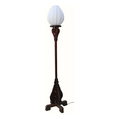 Pair Chinese Rosewood Carved Tall Floor Lamps - his pair of lamps is modified from vintage rosewood candle stand for the modern use. They have been wired with light bulb base. The shades are made of white color canvas cloth. They are an elegant home decoration piece with Aisan sensation.
