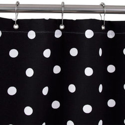 Cotton Duck Shower Curtain - Black with White Polka Dots - This delightful 100% duck cloth shower curtain is a great choice for your narrow shower space and will coordinate well with any bathroom decor.