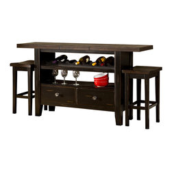 Hillsdale Furniture - 3 Piece Server Set - Featuring two open-air cabinets, wine bottle holders and pull out drawer. Combining the finishes of a distressed black base and an antique espresso top. Some assembly required. Leaf extends to 66 in. W. 50 in. W x 18 in. D x 36 in. H (186.6 lbs.)