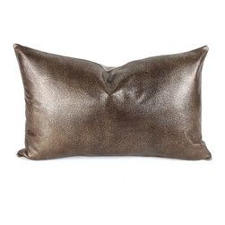 Pfeifer Studio - Metallic Leather Pillow, Bronze, 9x18 - Our elegant metallic leather pillows are naturally modern. The subtle metallic pattern on the leather is contrasted with a natural linen back. Each closes with a hidden garment zipper and is fitted with a medium-fill feather and down inner. Our pillows are each individually handmade-to-order using natural materials, each is considered unique and one-of-a-kind.
